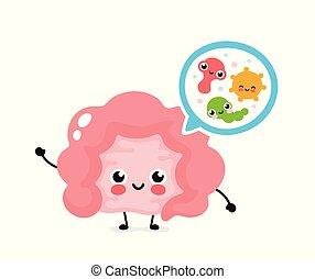 microscopisch, goed, darm, bacterias