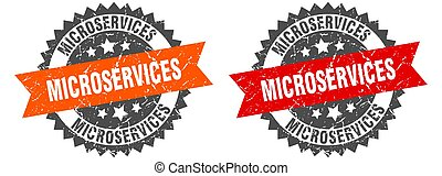 microservices grunge stamp set. microservices band sign