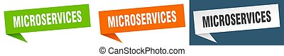 microservices banner sign. microservices speech bubble label set
