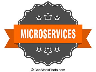 microservices label. microservices isolated seal. Retro sticker sign