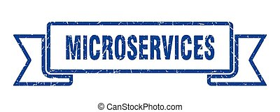 microservices ribbon. microservices grunge band sign. microservices banner