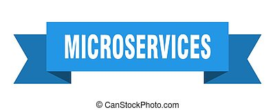 microservices ribbon. microservices paper band banner sign