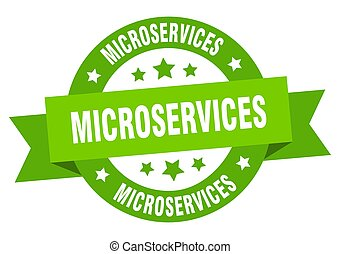 microservices round ribbon isolated label. microservices sign