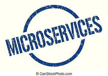 microservices blue round stamp