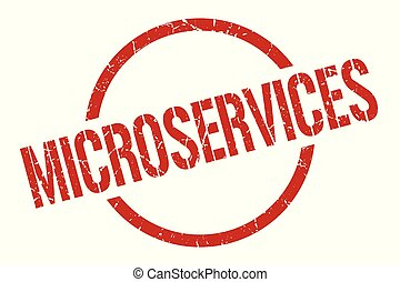 microservices red round stamp