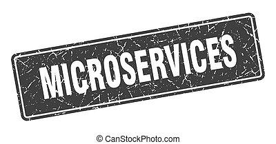 microservices stamp. microservices vintage black label. Sign