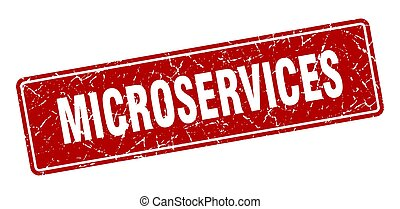 microservices stamp. microservices vintage red label. Sign