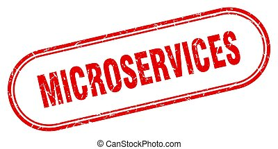 microservices stamp. rounded grunge sign on white background