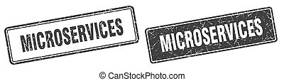 microservices square stamp. microservices grunge sign set
