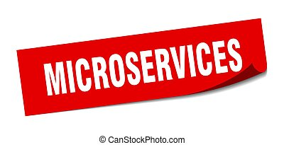 microservices sticker. microservices square sign. microservices. peeler