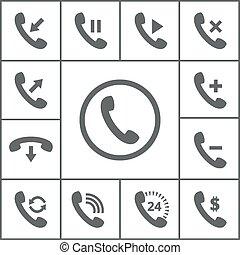 microteléfono, iconos