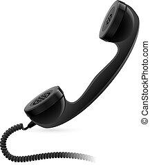 microteléfono, negro