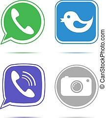 microteléfono, teléfono, vector, discurso, verde, burbuja, ...