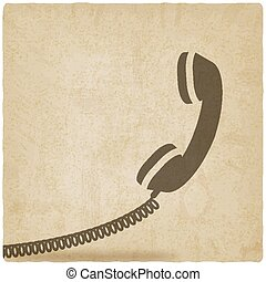 microtelefono, vecchio, simbolo, fondo