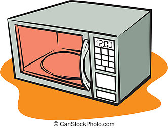 An Illustration of a retro microwave oven.