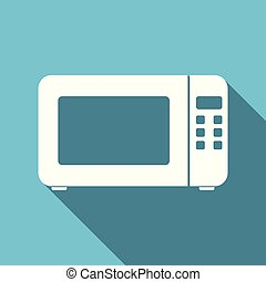 microwave flat design blue vector icon