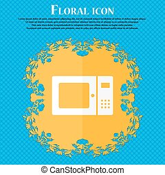 microwave icon. Floral flat design on a blue abstract background with place for your text. Vector