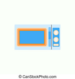 Microwave icon in flat style, kitchenware illustration
