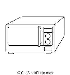 Microwave icon in outline style isolated on white background. Kitchen symbol stock vector illustration.