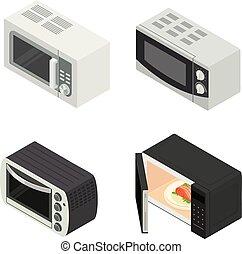 Microwave icons set, isometric style