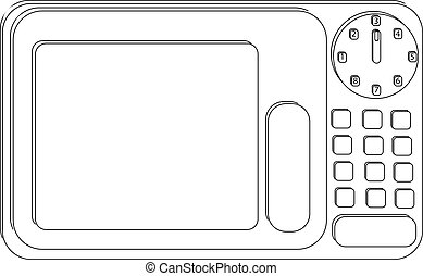 Microwave in black and white isolated on white background in flat style.