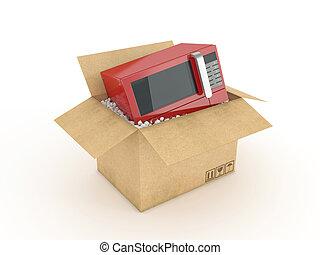 microwave in cardboard box