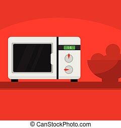 Microwave Kitchen Home Scene Illustration