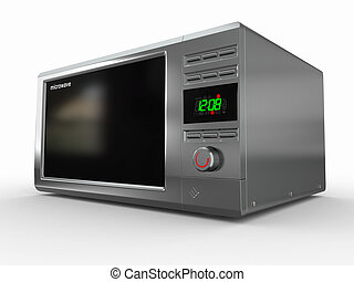 Microwave on white background. 3d - Closed metallic ...