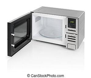 Microwave oven - Black microwave oven with door open,...
