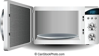 Microwave oven with open door