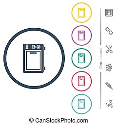 Microwave oven flat color icons in round outlines