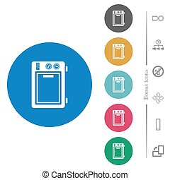 Microwave oven flat round icons