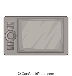 Microwave oven icon, gray monochrome style - Microwave oven...