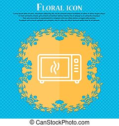 Microwave oven icon sign. Floral flat design on a blue abstract background with place for your text. Vector