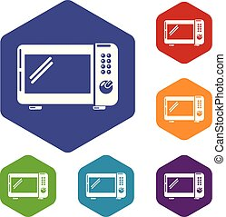 Microwave oven icons vector hexahedron