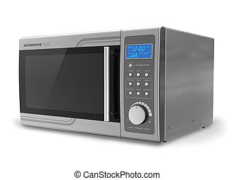 Microwave oven isolated on white background Design of this microwave oven is my own and all text labels and numbers are fully abstract