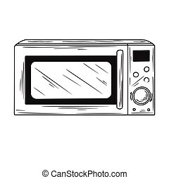 Microwave oven isolated on white background. Vector illustration