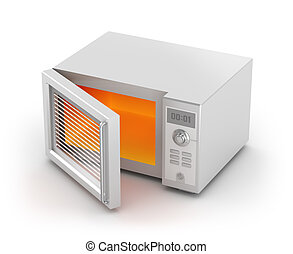 Microwave oven isolated on white. My own design