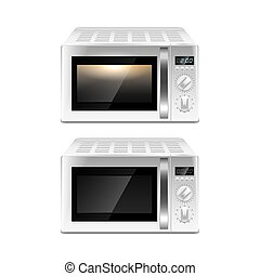 Microwave oven isolated on white vector - Microwave oven...