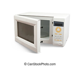 microwave oven over white - New microwave oven. Isolated on...