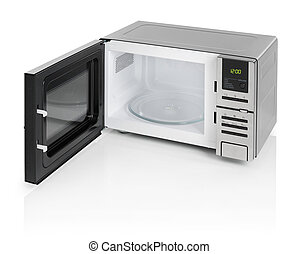 Microwave oven - Black microwave oven with door open,...