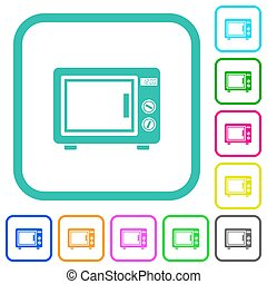 Microwave oven vivid colored flat icons