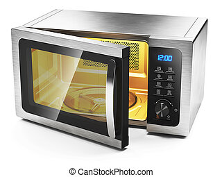 Microwave oven with open door isolated on white background 3d
