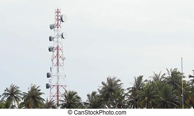 Microwave Repeater Tower on Maafushi Island, Maldives -...