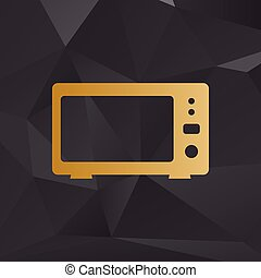 Microwave sign illustration. Golden style on background with polygons.
