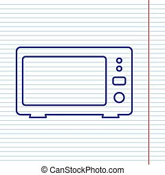 Microwave sign illustration. Vector. Navy line icon on notebook paper as background with red line for field.