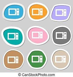 microwave symbols. Multicolored paper stickers. Vector