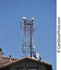 Microwave tower next to a home