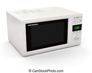 microwave., weißes, geschlossene, 3d