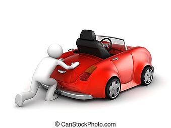 microworld, coche, empujar, -, colección, fallado